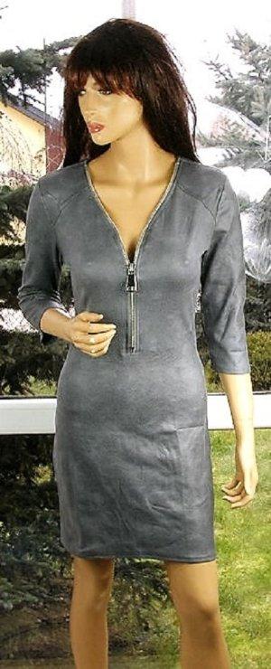 Stylische Wildlederkleid in gr 38 Neu Farbe Grau Reissverschluss