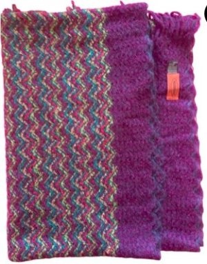 Missoni Crochet Scarf lilac-red wool