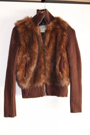 Stylischer Fake Fur Strick-Cardigan