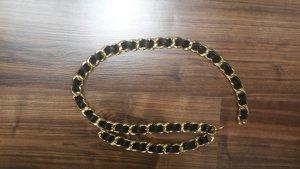 Stylischer Ketten-/Ledergürtel in schwarz/gold
