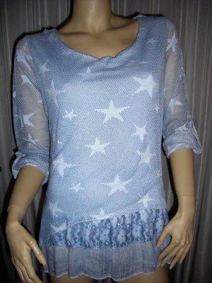 Stylischer Netz Stern Pullover Shirt langarm blau mit Pailetten NEU Gr 38 - 40
