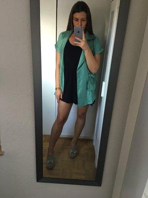 Stylischer Oversize Mantel kurzarm mit Schlitz und Taschen grün Türkis