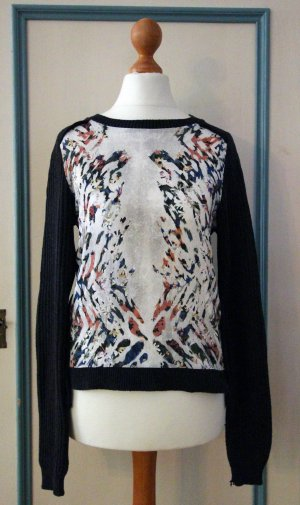 Stylischer Pullover * mit tropischem Muster * Anthrazit/Dunkelgrün * Gr. S