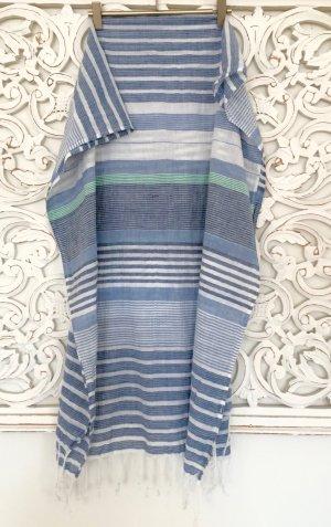stylischer Schal Tuch von PEPE JEANS * hellblau gestreift mit Fransen * NEU!