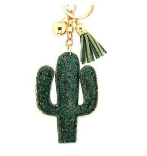 stylischer Schlüssel-/ Taschenanhänger Kaktus grün/gold NEU