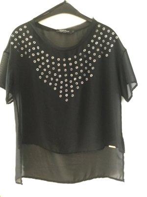 Rinascimento Short Sleeved Blouse black-silver-colored