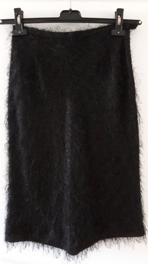 Cortefiel Fringed Skirt black mixture fibre