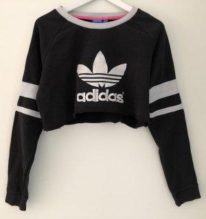 Stylisches & bequemes Adidas Cropped Sweatshirt, schwarz/weiß, M
