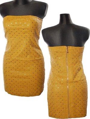 Stylisches Blogger Leder Kleid in gr L/40 Neu Farbe Senf