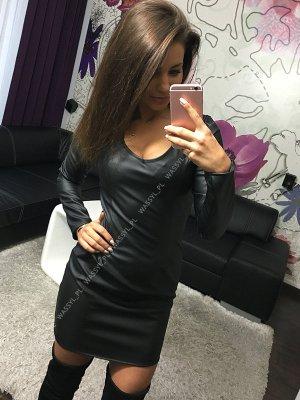 Stylisches Leder Kleid in gr 38/40 Farbe Schwarz Neu