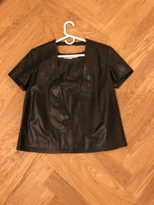 & other stories Short Sleeved Blouse black leather