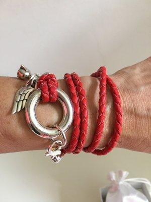 100 Leather Bracelet brick red-red