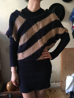 Tally Weijl Sweater Dress sand brown-dark blue polyacrylic