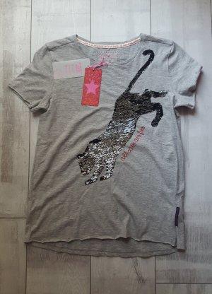 stylisches Shirt von LIEBLINGSSTÜCK mit schwarzer Panter aus Pailetten NEU, Gr. S-M