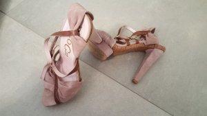 Stylishe Sandalette mit Riemchen aus Veloursleder (Braun & altrosé) von Paco Gil