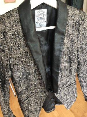 QS by s.Oliver Leren blazer zwart-grijs-bruin