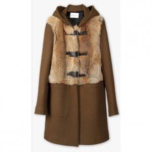 Sandro Hooded Coat multicolored wool