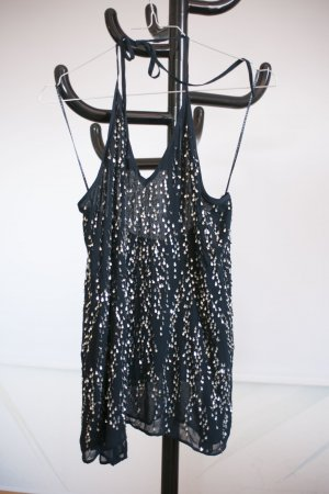 Zara Halter Top dark blue-silver-colored