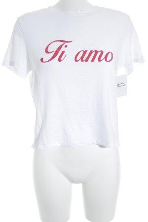 Subdued T-shirt bianco-rosso mattone caratteri stampati stile casual