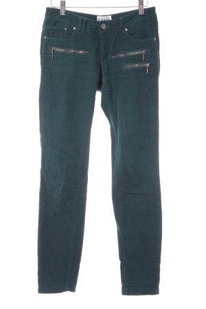 Sublevel Pantalone di velluto a coste verde scuro-blu cadetto stile casual