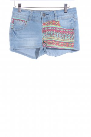 Sublevel Jeansshorts Aztekenmuster Jeans-Optik