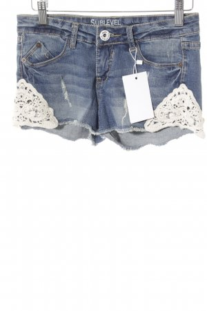 Sublevel Jeansshorts wollweiß-blau Hippie-Look