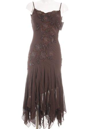 Sue Wong Abendkleid dunkelbraun-schwarzbraun florales Muster 80ies-Stil