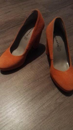 Suede High Heels Orange