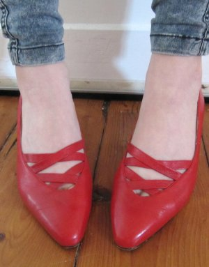Süße 80s Pumps in ROT Afis Fashion Shoes Pumps Lolita Größe 37 Echt Leder