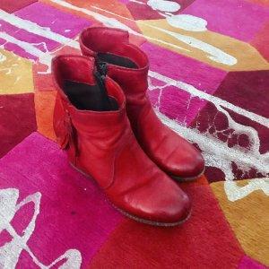 Süße Ankle Boots Wedges Keilabsatz rotes Leder 39