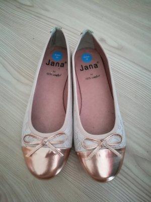 süße Ballerinas von Jana mit Spitze, Rosegold