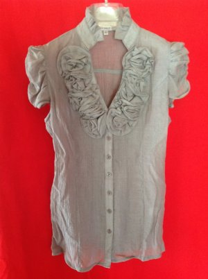 Best emilie Ruffled Blouse light grey mixture fibre