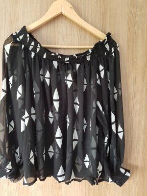 H&M Blusa alla Carmen bianco-nero