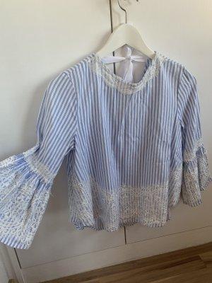 Zara Woman Ruche blouse wit-azuur