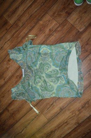 Süße  Bluse Grüntöne mit Blau und Weiß Gr.M42 S. Oliver