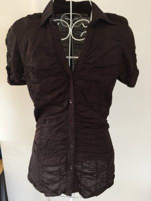 MNG Casual Sportswear Short Sleeved Blouse dark brown-brown