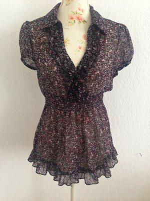 süße Bluse mit Blümchenmuster  transparenter Stoff