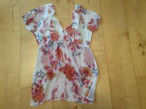Süße Bluse mit Blumenprint, leicht transparent