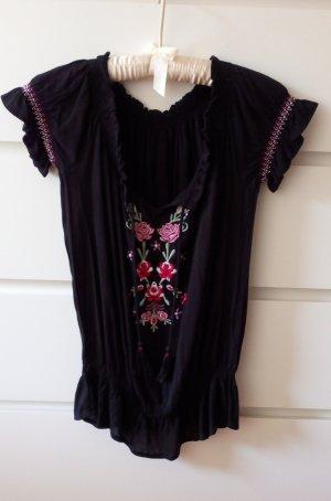 Carmen blouse zwart Viscose