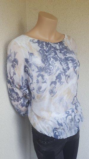 BELLA Blusa a tunica bianco-grigio ardesia