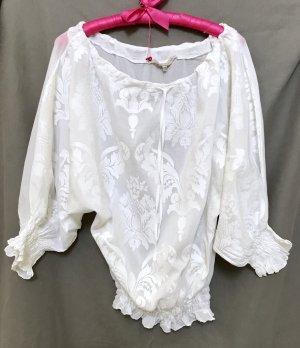 la fée maraboutée Blouse Carmen blanc coton