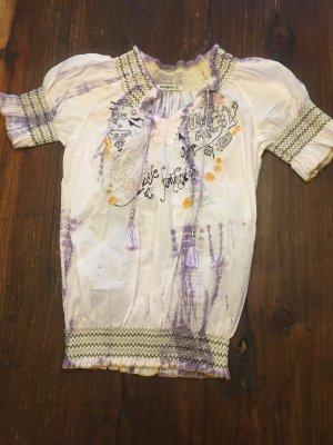 Süße Boho Bluse Desigual S 36 Batik bestickt
