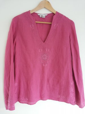 Süße Boho Hippie Leinen Bluse mit Stickerei in pink