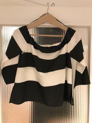 Zara Blouse Carmen blanc-noir coton
