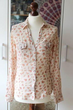 Süße cremefarbene Bluse mit Blümchenmuster Mango 38 40 S M