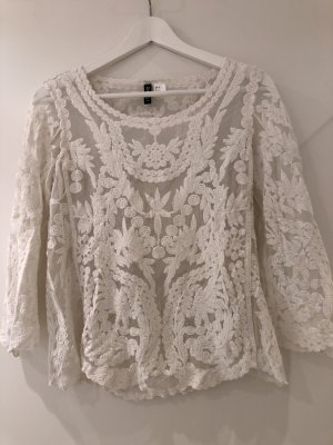 H&M Blusa in merletto bianco Cotone