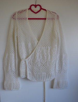 Cache-cœur en tricot blanc cassé mohair