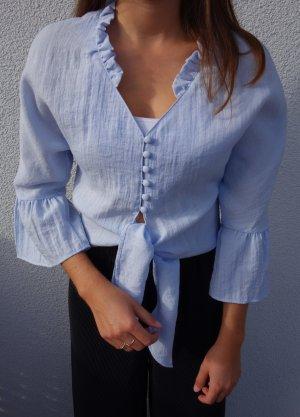 Zara Camicetta con arricciature azzurro