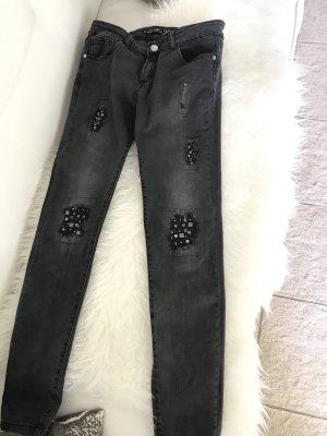 Amisu Skinny jeans donkergrijs Katoen
