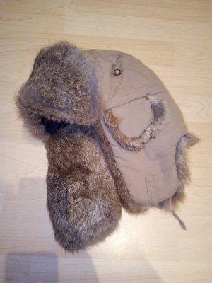 Hallhuber Fur Hat sand brown-black brown polyester